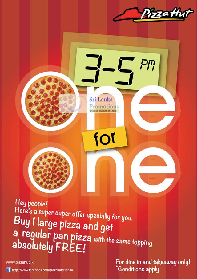 Featured image for Pizza Hut Sri Lanka FREE Regular Pizza With Every Large Pizza 19 May 2012