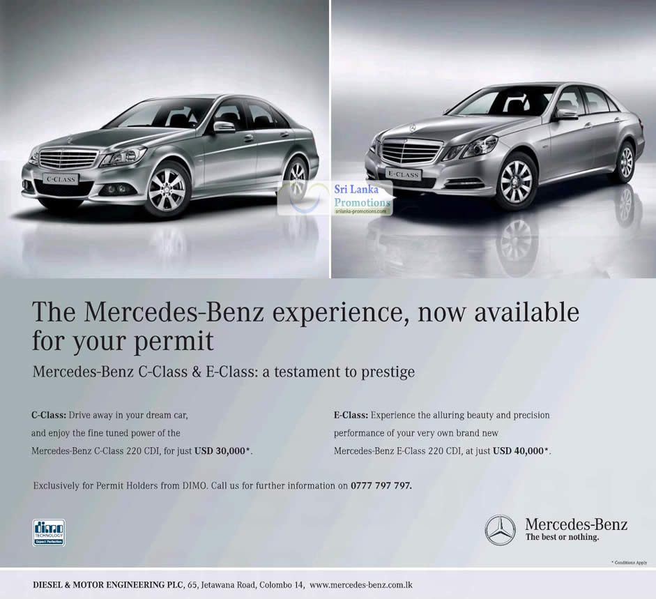 Mercedes Benz Cars Now Available For Your Permit 31 May 2012