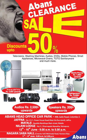 Featured image for Abans Clearance Sale Up To 50% Off @ Islandwide 11 – 16 Jun 2012