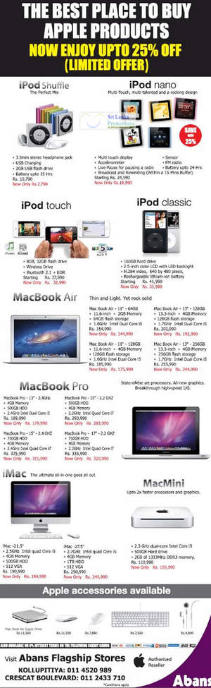 Featured image for Apple Products Up To 25% Off Abans Promotion Offers 16 Jun 2012