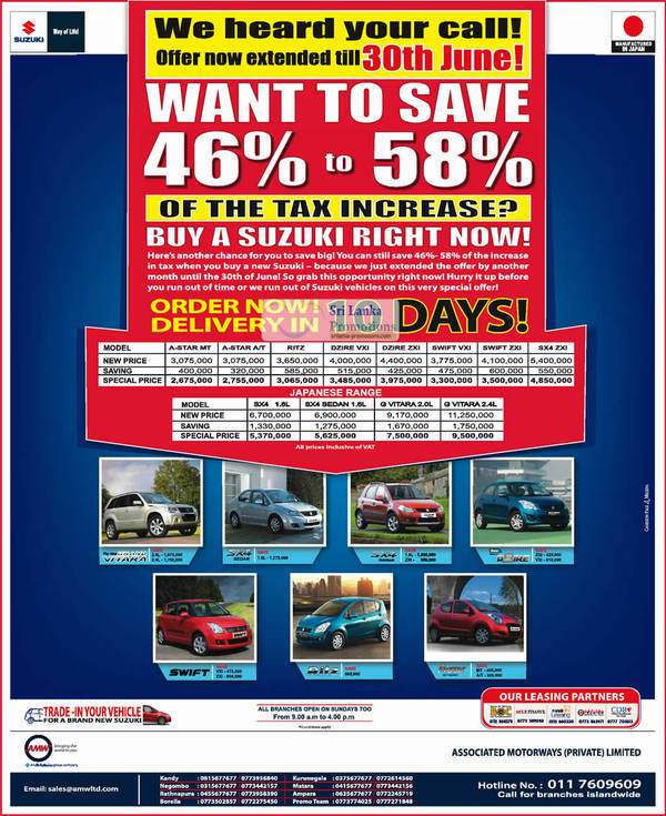 Featured image for Suzuki Motor Vehicle Promotion Offers @ Assoicated Motorways 8 – 30 Jun 2012