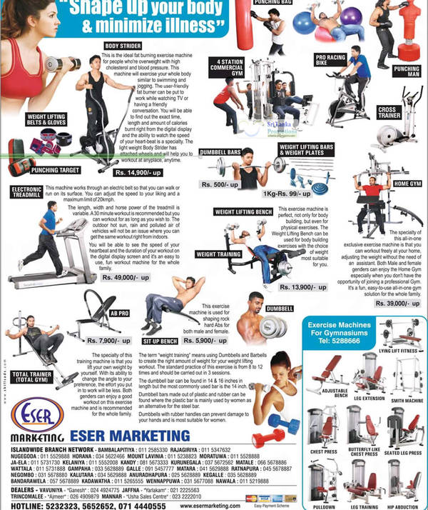 Featured image for Eser Gym Excerise Equipment Offers 29 Jul 2012