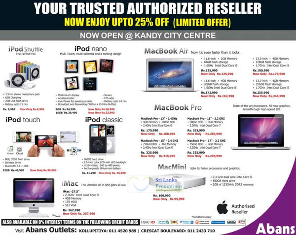Featured image for Apple MP3 Players, Touch, Notebooks & Desktop PC Abans Offers 8 Jul 2012
