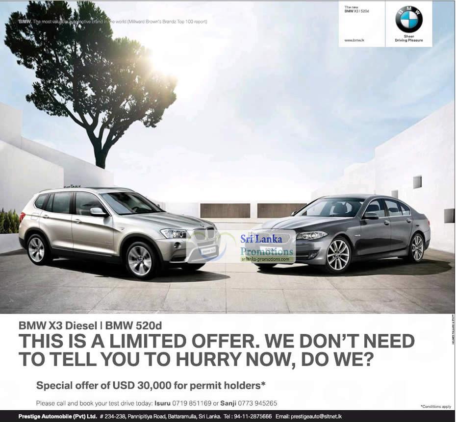 BMW X3 & BMW 520d Permit Holder Offer 20 Jul 2012