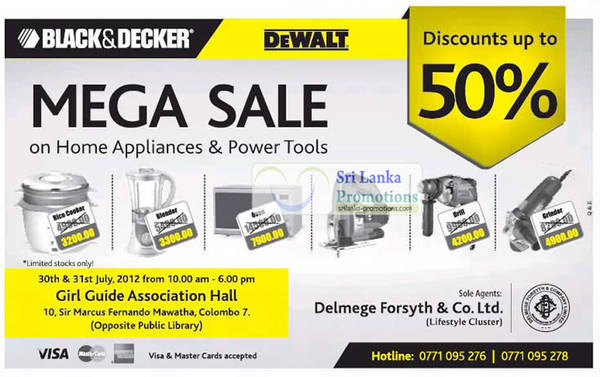 Featured image for Black & Decker Mega Sale Up To 50% Off 30 – 31 Jul 2012