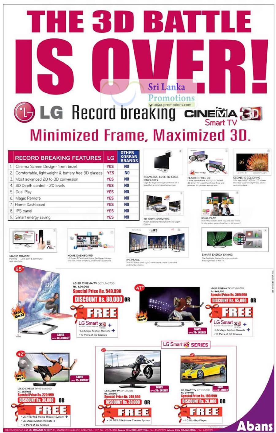 LG 3D CINEMA TV 47LM6700, LG 3D CINEMA TV 55LM6700, LG 3D CINEMA TV 42LM6200, LG LED TV 47LS5700