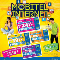 Get more internet for your rupee from Mobitel's latest Internet cards. For Rs 24, you can get 3 days internet access with 100MB limit and free 10 M2M SMS