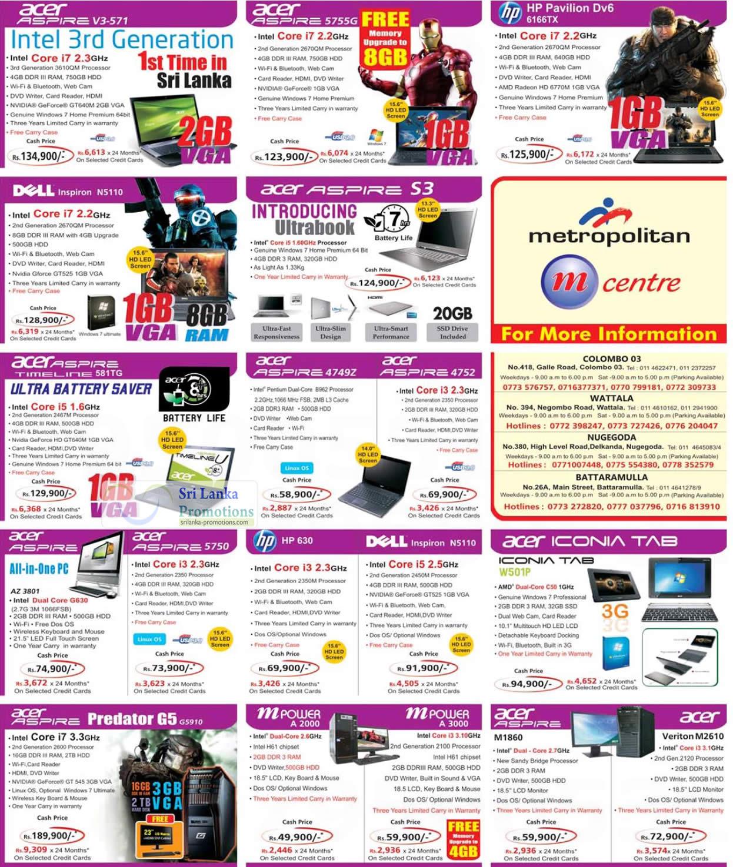 Acer Aspire V3-571 Notebook, Acer Aspire 5755G Notebook, Acer Aspire S3 Notebook, Acer Aspire Timeline 581TG Notebook, Acer Aspire 4749Z Notebook, Acer Aspire 4752 Notebook, Acer Aspire M1860 Desktop PC, Acer Veriton M2610 Desktop PC, Acer Aspire Predator G5 G5910 Desktop Pc, Acer Aspire AZ-3801 AIO PC, Acer Aspire 5750 AIO PC, HP Pavilion Dv6 6166TX Notebook, DELL Inspiron N5110 Notebook, DELL Inspiron N5110 Notebook, Acer iconia tab, HP 630 Notebook, MPOWER A 2000, MPOWER A 3000