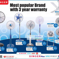 Singer fans come with 3 years warranty. Models listed are Singer FAN-ISF-AC24 Standing Fan, Singer FAN-P-MSF160 Standing Fan and more