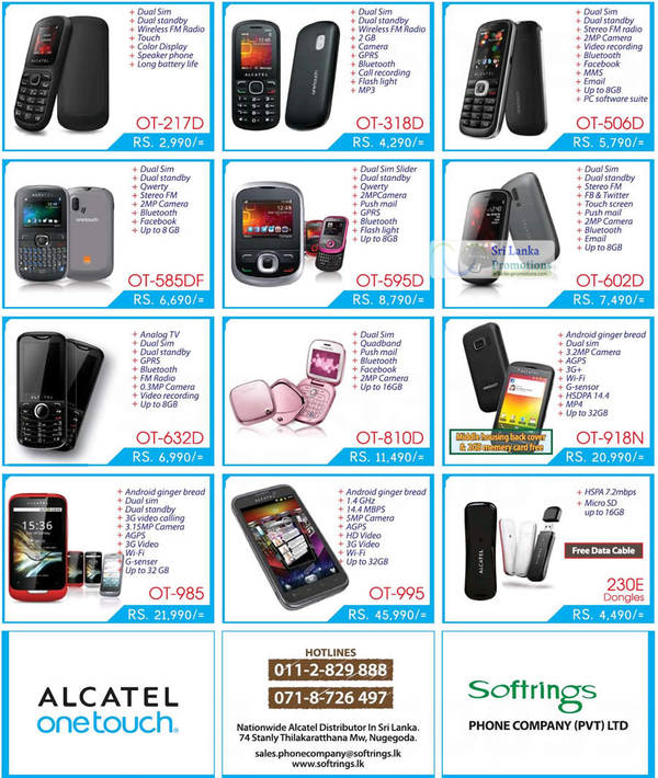 Featured image for Alcatel One Touch Mobile Phones & Smartphone Softrings Offers 29 Jul 2012