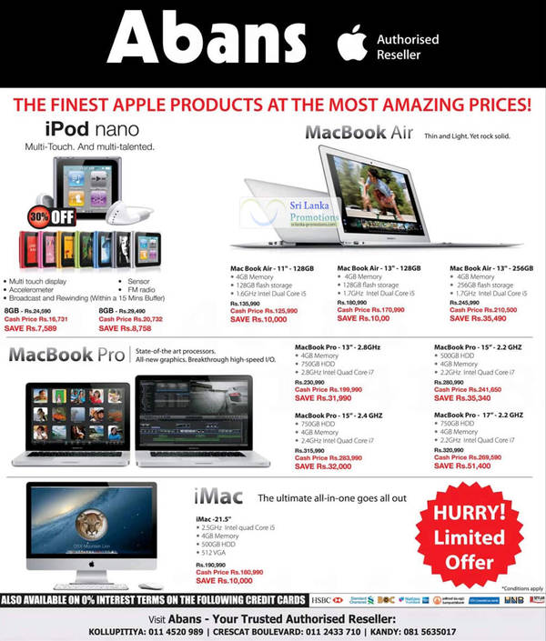 Featured image for Apple Notebooks, Desktop PC & iPod Nano Abans Offers 26 Aug 2012