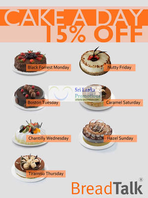 Featured image for BreadTalk Sri Lanka 15% Off Cake A Day 28 Aug 2012