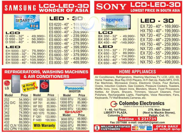 Featured image for Colombo Electronics TV, Fridge and Appliances Price Offers 26 Aug 2012