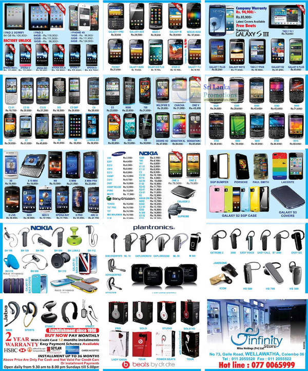 Featured image for Infinity Store (Mitsu) Smartphones & Mobile Phones Price List Offers 26 Aug 2012