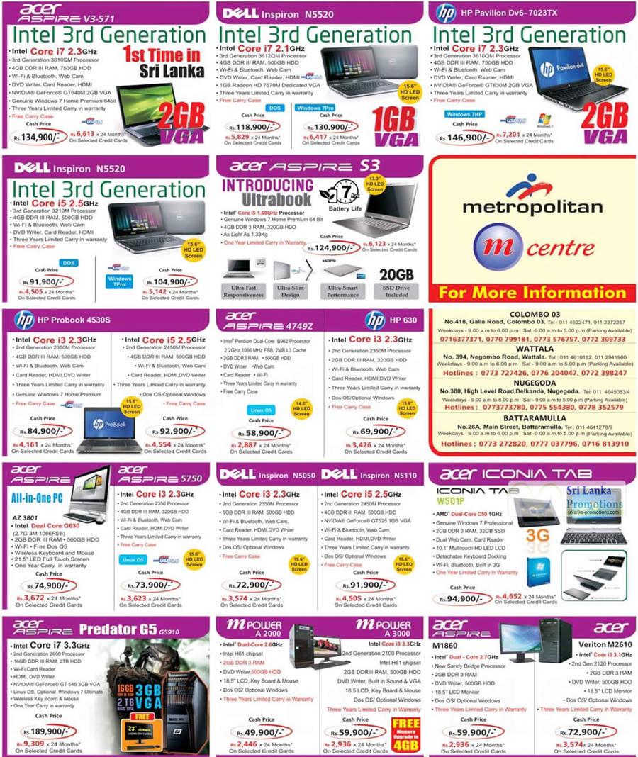 Featured image for Metropolitan Printers, Digital Cameras, Notebooks & Desktop PC Offers Price List 26 Aug 2012