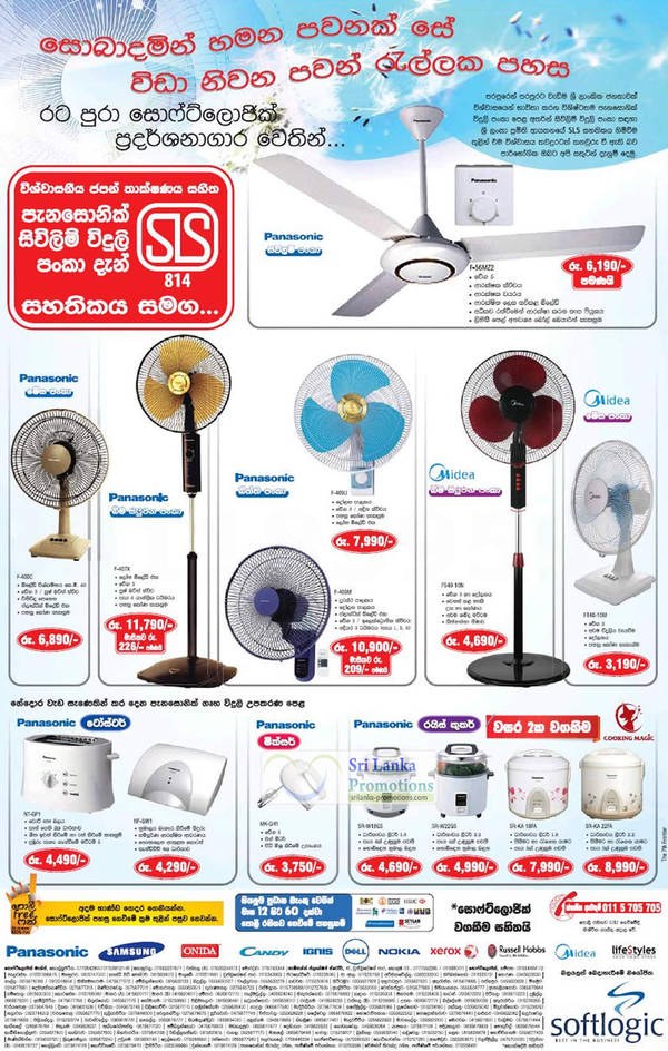 Featured image for Panasonic & Midea Fans & Electronics Softlogic Offers 26 Aug 2012