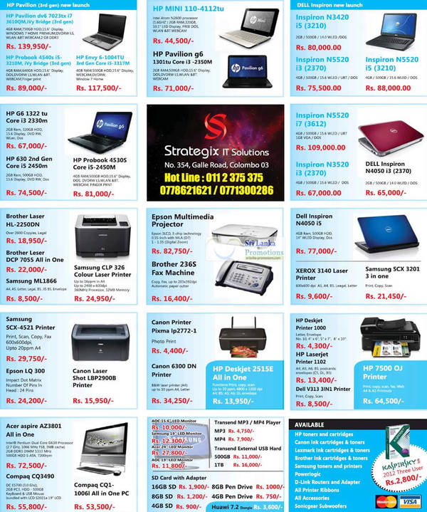 Featured image for Strategix IT Solutions Printers, Notebooks & Desktop PC System Offers 26 Aug 2012