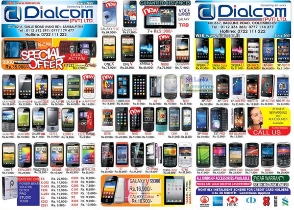 Featured image for Dialcom Samsung, Apple, Sony, Blackberry, HTC & Nokia Phones Price List Offers 16 Sep 2012