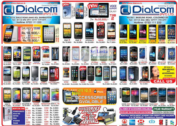 Featured image for Dialcom Samsung, Apple, Sony, Blackberry, HTC & Nokia Phones Price List Offers 23 Sep 2012
