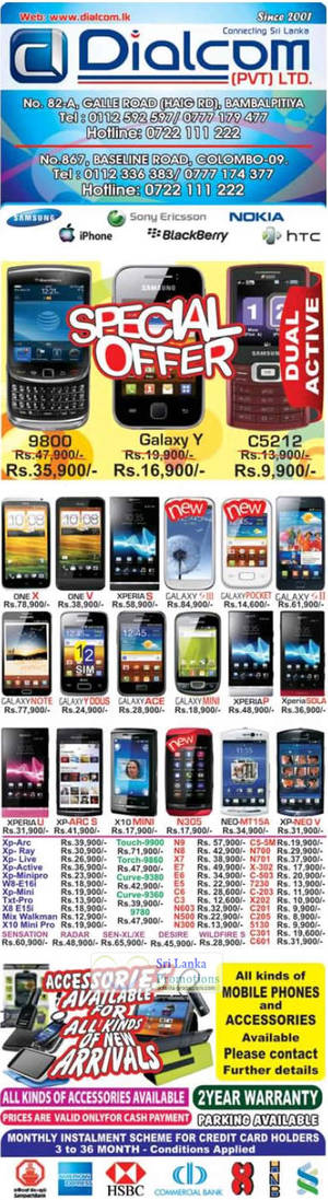 Featured image for Dialcom Samsung, Apple, Sony, Blackberry, HTC & Nokia Phones Price List Offers 9 Sep 2012
