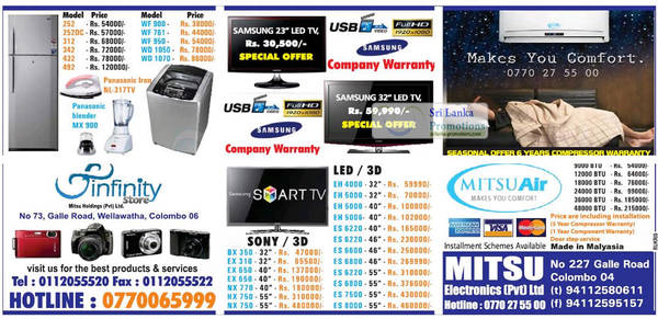 Featured image for Infinity Store (Mitsu) Fridge, Washer & TV Offers 16 Sep 2012