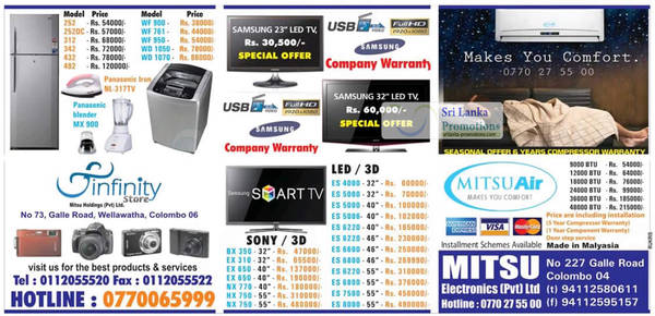 Featured image for Infinity Store (Mitsu) Fridge, Washer & TV Offers 2 Sep 2012