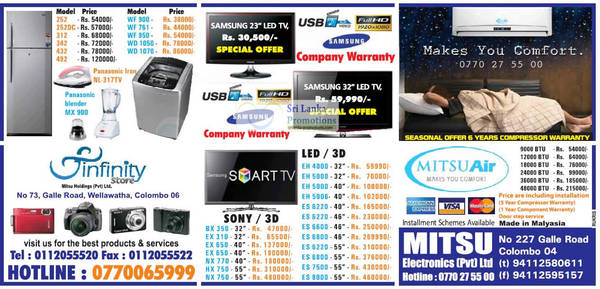 Featured image for Infinity Store (Mitsu) Fridge, Washer & TV Offers 9 Sep 2012
