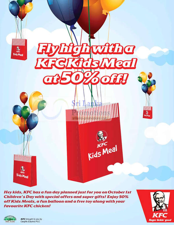 Featured image for KFC 50% off Kids Meal Promotion 1 Oct 2012