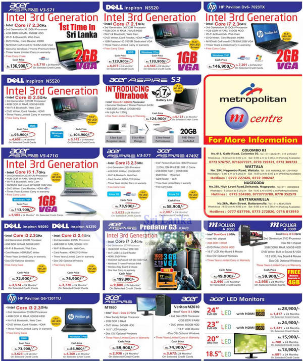 Featured image for Metropolitan Printers, Digital Cameras, Notebooks & Desktop PC Offers Price List 30 Sep 2012