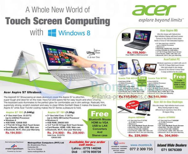 Featured image for Acer Windows 8 Systems, Notebooks & Tablet Offers 30 Oct 2012