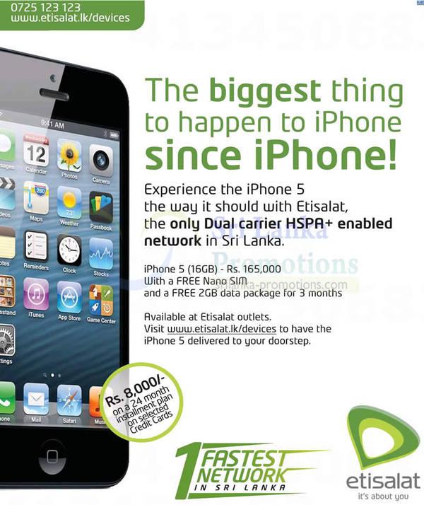Featured image for Apple iPhone 5 Sri Lanka Price @ Etisalat 14 Oct 2012