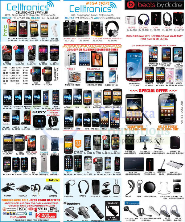 Featured image for Celltronics Smartphones & Mobile Phones Price List Offers 21 Oct 2012