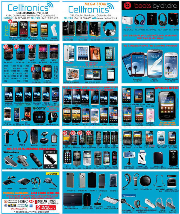 Featured image for Celltronics Smartphones & Mobile Phones Price List Offers 28 Oct 2012