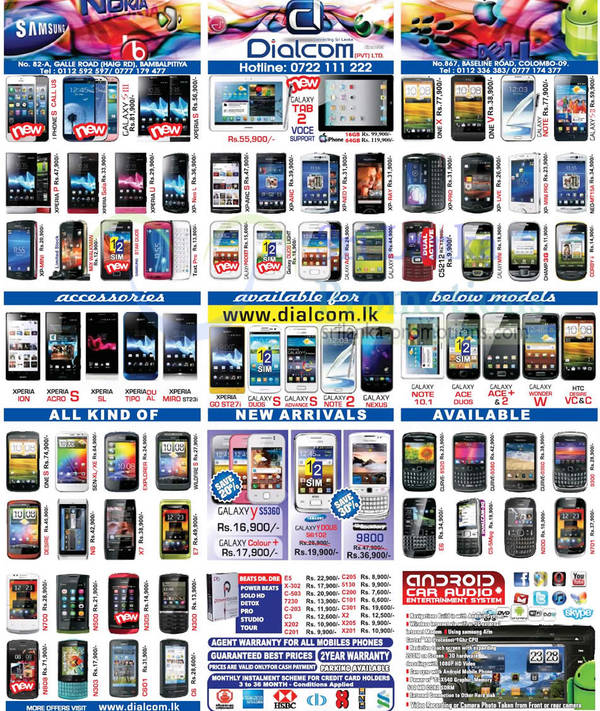 Featured image for Dialcom Smartphones & Mobile Phones Price List Offers 21 Oct 2012
