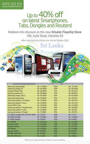 Featured image for Etisalat Up To 40% Off Smartphones, Tablets, Dongles & Routers 23 – 31 Oct 2012