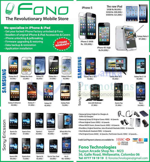 Featured image for Fono Technologies Mobile Smartphones & Tablets Offers 21 Oct 2012