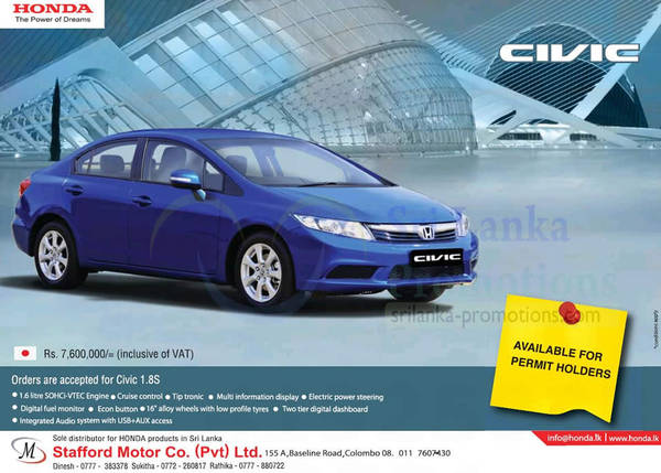 Featured image for Honda Civic 1.8S Car Features & Price 28 Oct 2012