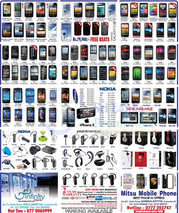 Featured image for Infinity Store (Mitsu) Smartphones & Mobile Phones Price List Offers 14 Oct 2012
