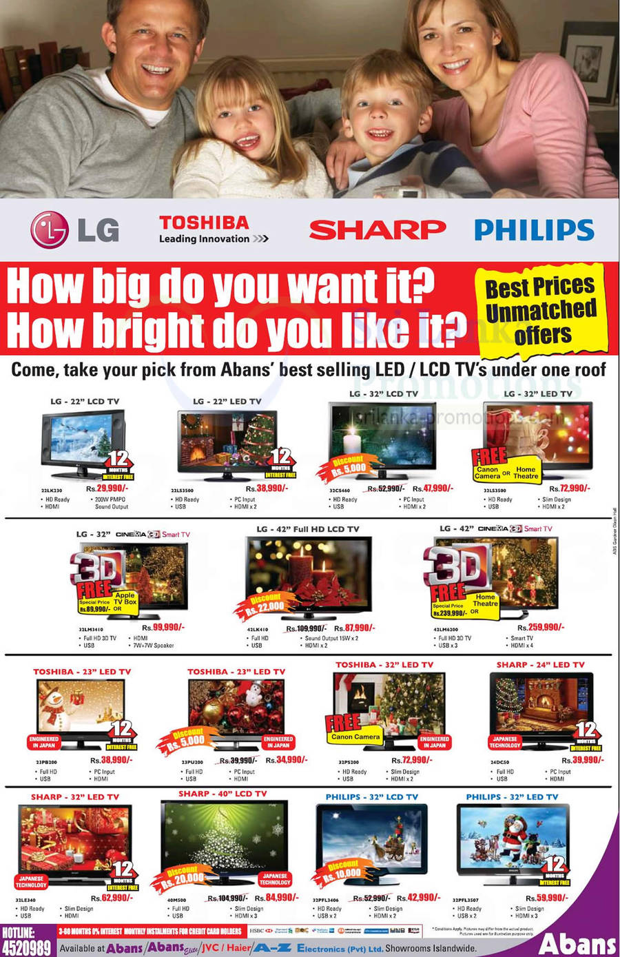 LED TVs LG, Sharp, Toshiba, Philips