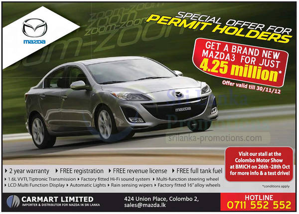 Featured image for Mazda3 Car Permit Holder Price Offer 28 Oct 2012