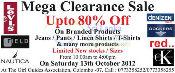 Featured image for Mega Fashion Clearance Sale @ Girl Guide Association 13 Oct 2012