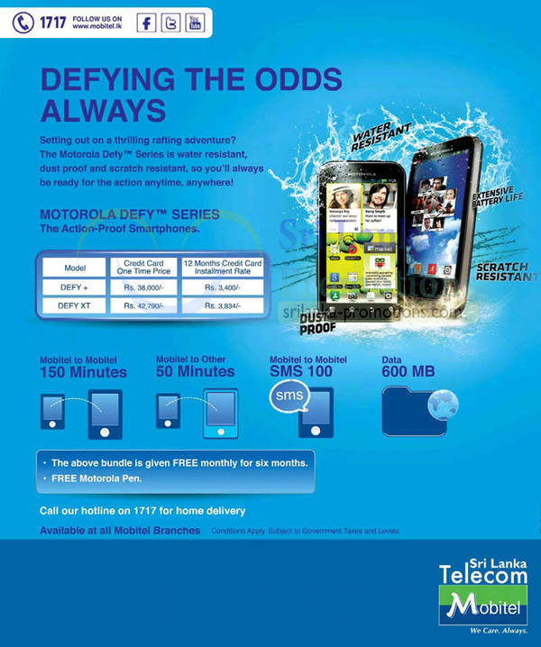Mobitel Motorola Defy Smartphone Offers 7 Oct 2012