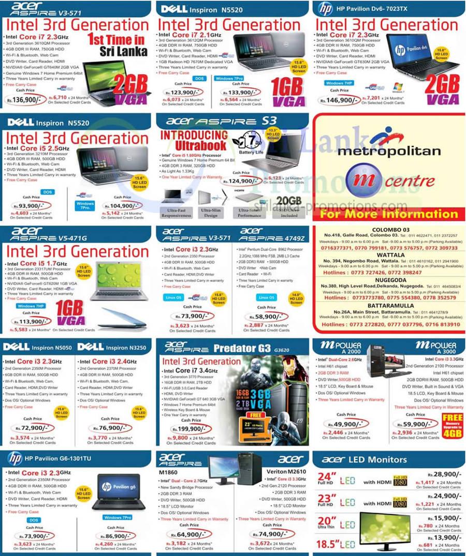 Acer Aspire V3-571 Notebook, Dell Inspiron N5520 Notebook, Acer Aspire V3-571 Notebook, Acer Aspire 4749Z, DELL Inspiron N5050 Notebook, DELL Inspiron N3250 Notebook, Acer Aspire M1860 Desktop PC, Acer Verizon M2610 Desktop PC, Mpower A2000, Mpower A3000, Acer Aspire Predator G3620, HP Pavilion G6-1301TU