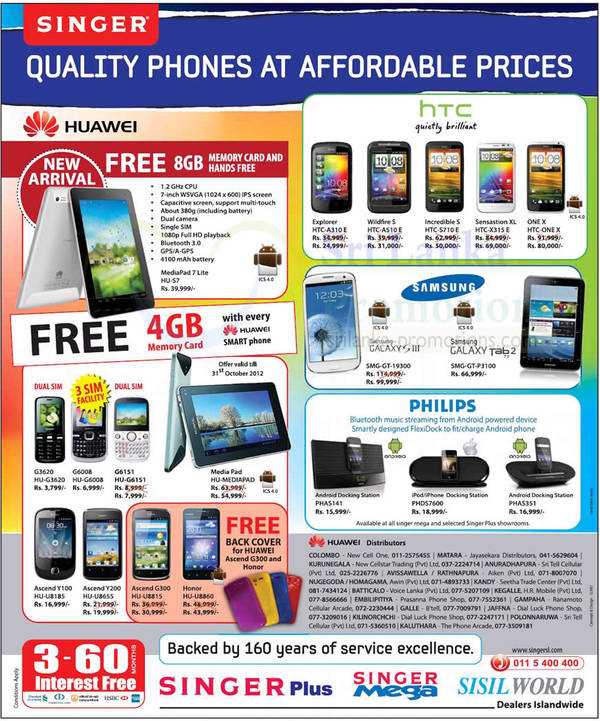 Featured image for Singer Huawei, HTC & Samsung Smartphones & Tablet Price Offers 28 Oct 2012