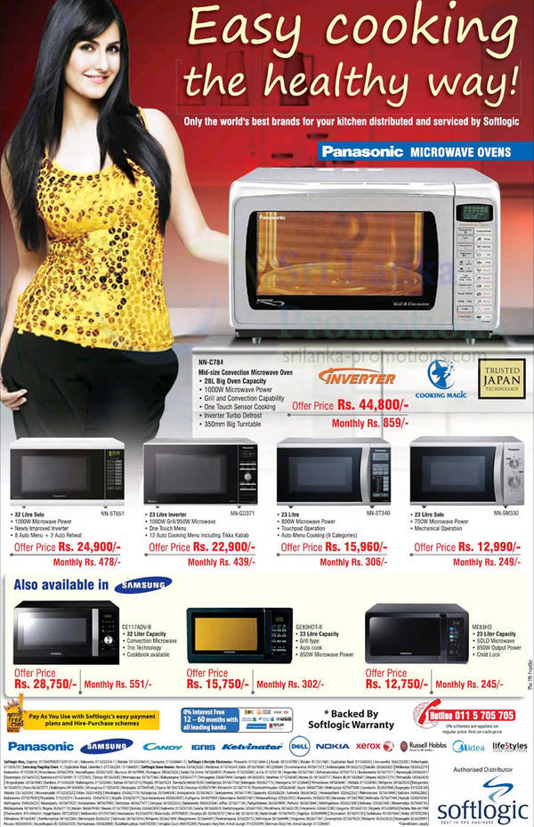 Featured image for Softlogic Samsung & Panasonic Microwave Oven Offers 28 Oct 2012