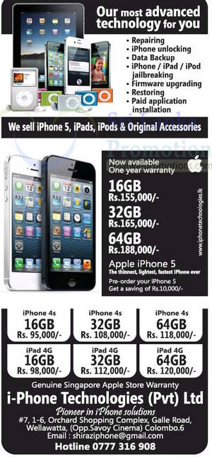 Featured image for i-Phone Technologies Apple iPhone 5, iPhone 4S & iPad 3 Price Offers 14 Oct 2012