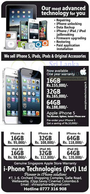 Featured image for i-Phone Technologies Apple iPhone 5, iPhone 4S & iPad 3 Price Offers 7 Oct 2012