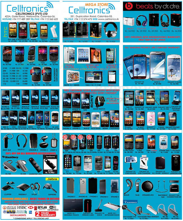 Featured image for Celltronics Smartphones & Mobile Phones Price List Offers 18 Nov 2012