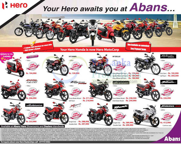 Abans Hero Honda Motorcycle Price List Offers 21 Nov 2012