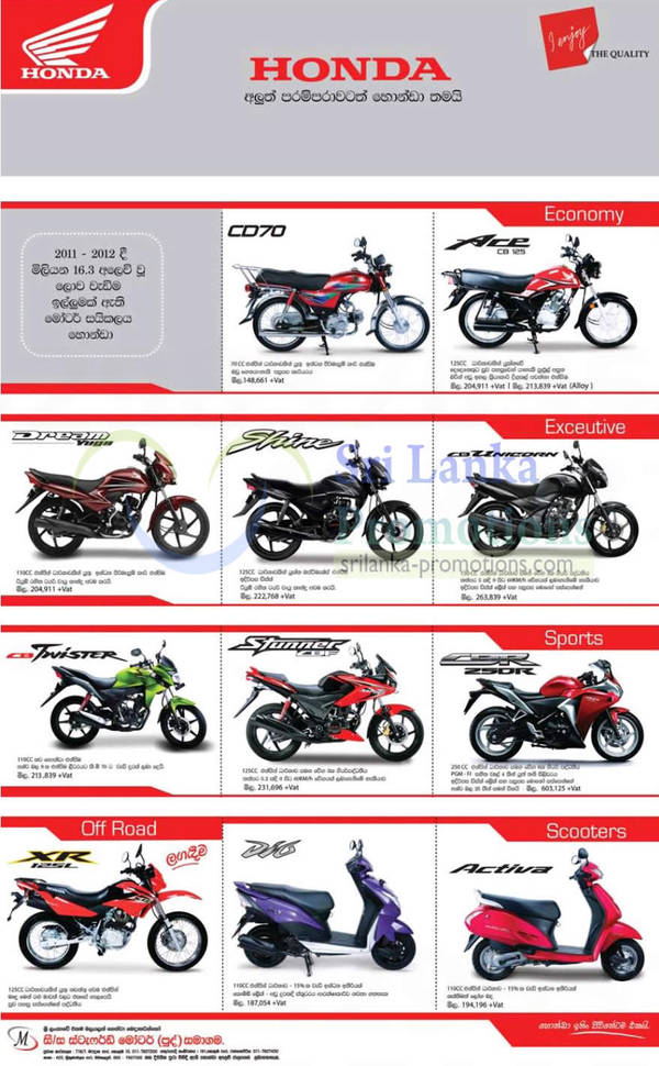 Featured image for Stafford Motor Company Honda Motorbikes Promotion Offers 21 Nov 2012